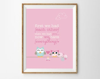 Cute Owl Family Print for a Baby Girl's Nursery - Instant Download Wall Art - Print at Home