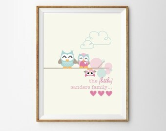 Cute Owl Family Print for a Baby Girl's Nursery - Instant Download Wall Art - Edit and Print at Home with Adobe Reader