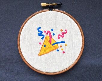 "Tada emoji embroidered 4"" wall hanging"