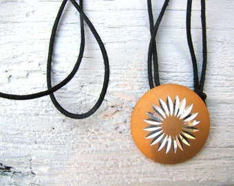 Retro Silver and Mustard Starburst Choker, Vintage Metal Pendant, Eco-Friendly Jewelry, Upcycled, Layering Necklace, Adjustable Black Cord