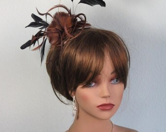 Brown Feather Hair Clip  And Pin  Wedding Accessory Bridal Hair Clip Wedding Hair Clip