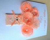 Mother's Day Orange and Cream Bouquet of Handmade Organza Flowers with Pearls and Cream Laced Vase Card - Happy Mother's Day