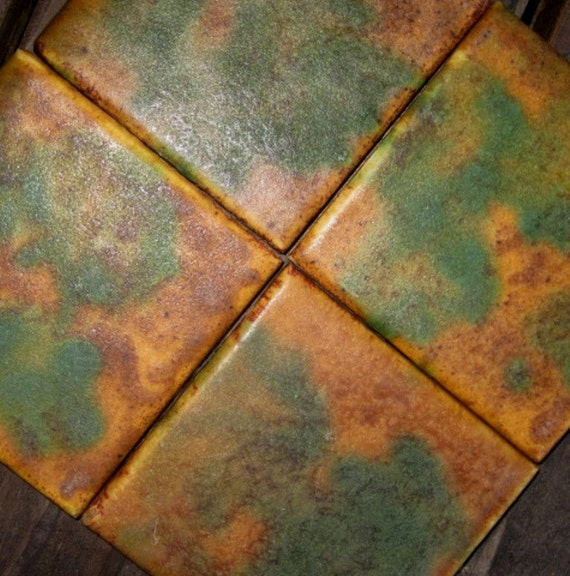 Arts and crafts handmade pottery tiles set of 14 vintage for Arts crafts tiles