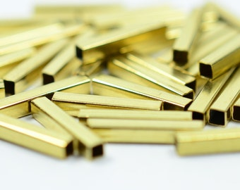 50 Pieces Raw Brass 2x2x12 mm Square Brass Bead Tube