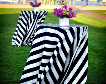 Round Black White Stripe Tablecloth Select Your Size