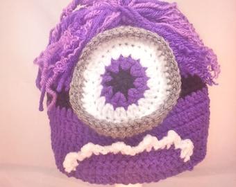 Purple Monster Crochet Hat.