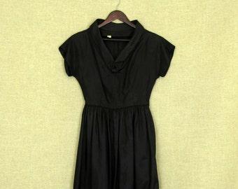 SALE - 1940s Black Dress / Vintage 40s Black Dress