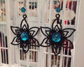 Black and Teal flower earrings