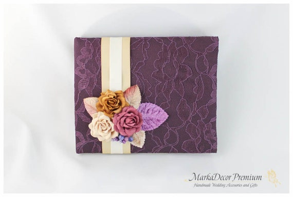 READY TO SHIP Wedding Lace Guest Book Custom Bridal Flower Brooch Guest Books in Shades of Plum, Tan, Ivory
