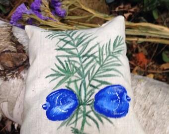 Country French Balsam Fir Pillow Handpainted Juniper Berry Design