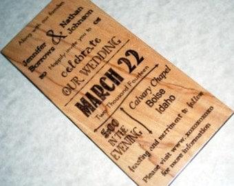 wooden invitations etsy