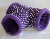 cosy cuddle T-tunnel / roll for guinea pigs, hedgehogs or sugar gliders (stars on purple/purple)
