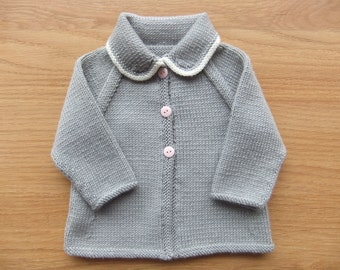Vintage style hand knitted slate grey and cream baby cardigan - Available to order in sizes newborn, 3-6, 6-12 and 12-18 months