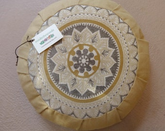 Made to Order Nature Inspired Mandala Yoga Pillow Zafu With Premium Organic Buckwheat Hulls See Customer Comments at the Bottom of Listing