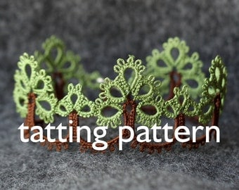 Trees edging - shuttle tatting pattern in PDF by littleblacklace - instant download