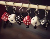 Stitch Markers - Knitting - Dice - Set of 6