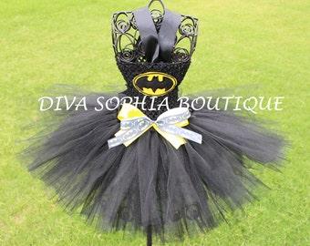 Girly Batman Tutu Dress/ Batgirl Tutu Dress/ Costume