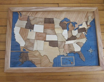 Wooden Map of the USA