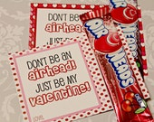 INSTANT Download Dont be an AIRHEAD Valentines Day Cards or School Lunch Box Jokes Note  - (6) U Print lunchbox Notes