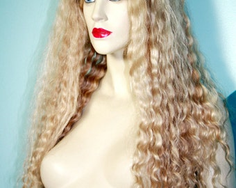 Blonde Mix #613/11 Curly Wavy Glueless Silk Top Lace Wig Human Hair Remy choose Length / Texture