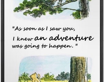 set of 4 classic winnie the pooh quote prints