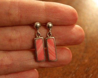 Vintage Sterling And Rhodocrosite Earrings
