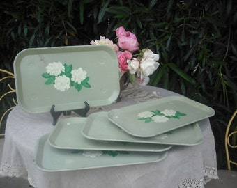 Vintage 1950s Green Metal Serving/Luncheon Trays / Set of Five