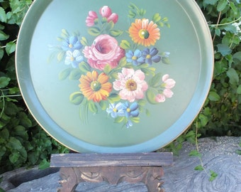 Vintage Handpainted Tole Tray / Round Tole Tray / Green Floral Tray by  E. T. Nash Co.