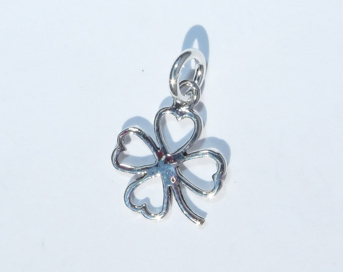 925 Genuine Silver Lucky Clover Charm - 92.5% Sterling Bracelet Necklace Wedding Christening Bride Bridesmaid 21 16 Birthday Gift 18 Irish