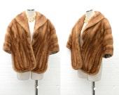 Lush 1950s Mink Fur Stole / Vintage Ashe Blonde - Brown Fur Cape / 50s Couture Capelet Wrap w/ Hidden Pockets & Long Extensions / One Size