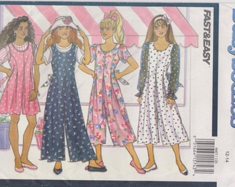 90's Butterick Busybodies #6667 Girls Culotte Dress, Jumpsuit and Top Sewing Pattern!