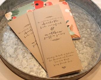 Printed Wedding Programs Folded on Rustic Kraft Paper // Program Booklet