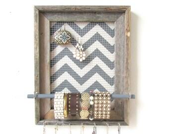 Jewelry Organizer  Jewelry Display Barnwood Chevron Frame Silver Hooks
