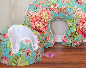 Amy Butler Bliss Bouquet in Teal Bumbo Seat Cover and Boppy Pillow Cover set