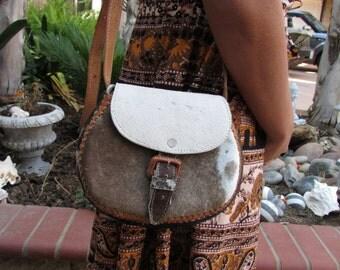 Vintage Leather and Hide purse Hippie Boho