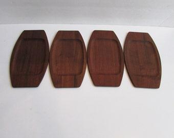 Mid Century Modern Walnut Serving Trays Set of 4