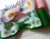 Set of 2 Hair Bows -Easter and St. Patrick's Day - Partially Lined Alligator Hair Clip - Baby, Girl, Toddler, Children - READY TO SHIP