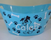 Personalized Easter Basket, Plastic Oval Easter Tub with Puppy Dog