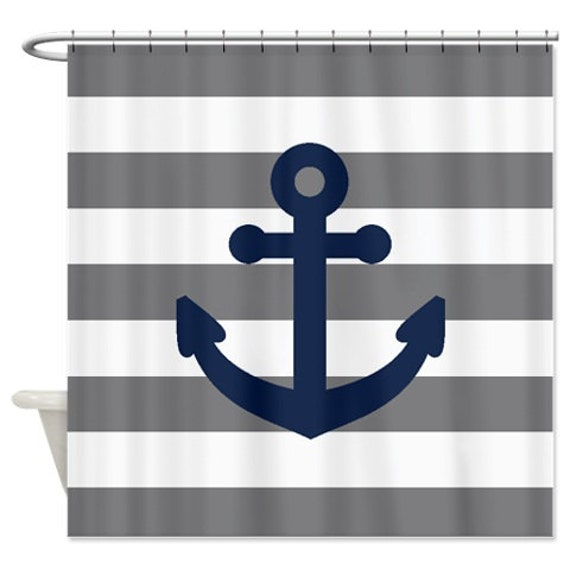 Nautical Shower Curtain-Grey and White Stripes-Navy Blue