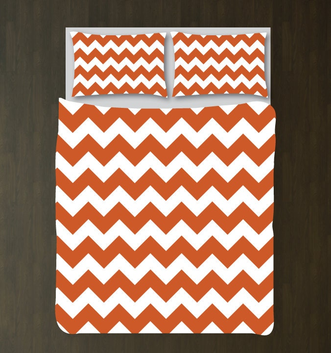 Custom Burnt Orange And White Duvet Cover Bedding