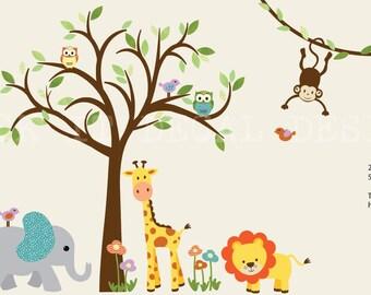 Kids Room Wall Decal, Jungle Animal wall decal, giraffe decal, Safari Animal Wall Decal, Monkey Vine Wall Decal, Pinwheel Design