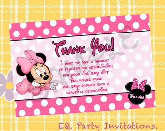 Minnie Mouse Baby shower Thank You card!!  Instant download!