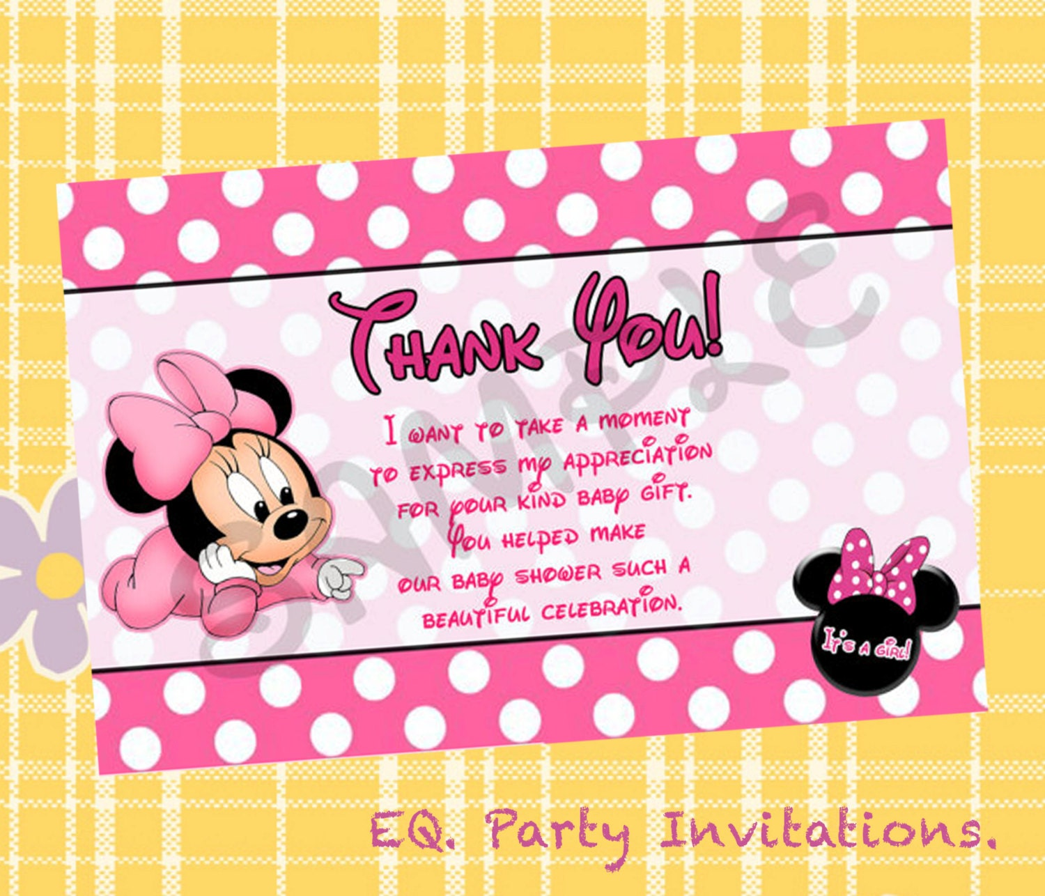 Minnie Mouse Baby Shower Thank You Card Instant Download