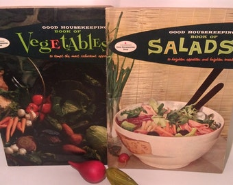 """Vintage Good Housekeeping's Promotional Cookbooks """"Book Of Vegetables"""" and Salads"""" 1958 Collectible/Kitchen/Vintage Recipes/USA Made"""