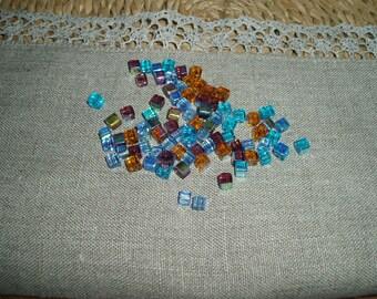 30 PCs Cube AB Finish  Glass Beads