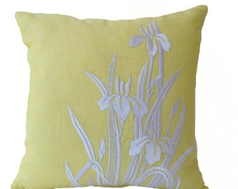 Yellow Pillow, Embroidered Pillow, Flower Pillow, Iris Flower Pillow, Linen Pillow Covers, Modern Throw pillows, Yellow Embroidered Pillow