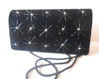 Vintage Evening Bag Black Velvet Beaded Handbag Starburst EB-0454