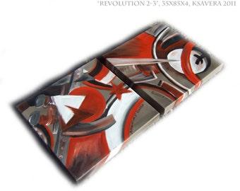propaganda avante garde Russian Cubist Original Painting Cubism soviet Art Nouveau Revolution KSAVERA 14x30x1,6 Paintings on canvas Abstract