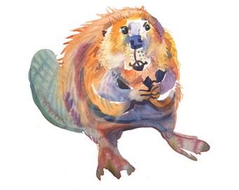 Beaver - Size 8x10in - Animal  Painting - Watercolor  Painting - Nursery Art Print