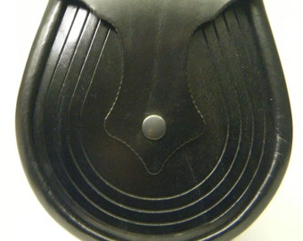 Handmade Black Leather Lucky Horse Shoe Sporran, Ness
